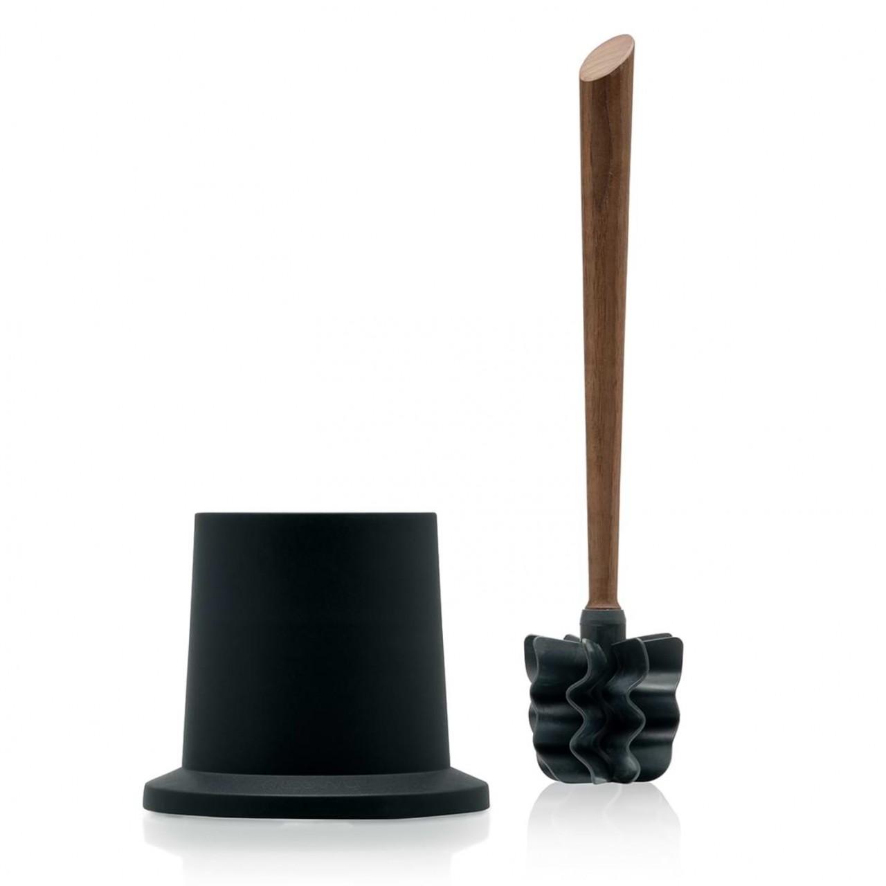 LOOWY Woodline – Nussbaum Set | Toilettenbürste mit Nussbaumgriff und Halter Kunststoff schwarz