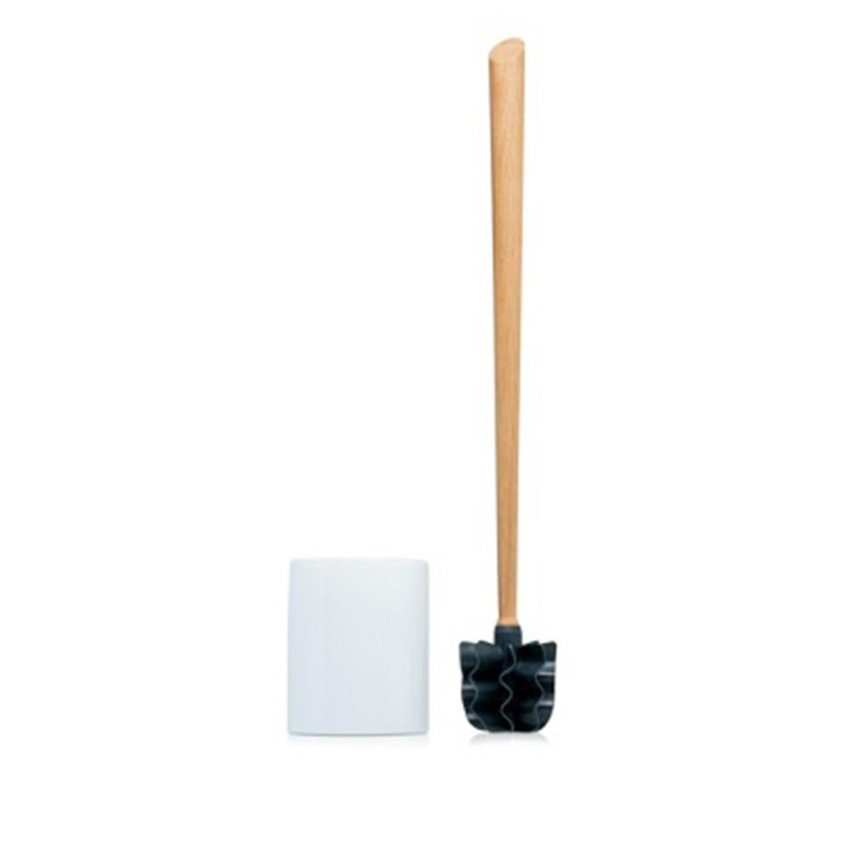 LOOWY Woodline – Eiche Set lang | die borstenlose Toilettenbürste Set mit extra langem Stiel
