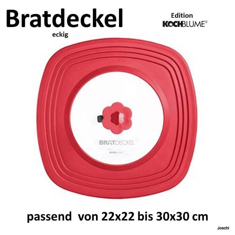 Kochblume Universal Bratdeckel eckig 22x22 bis 30x30cm