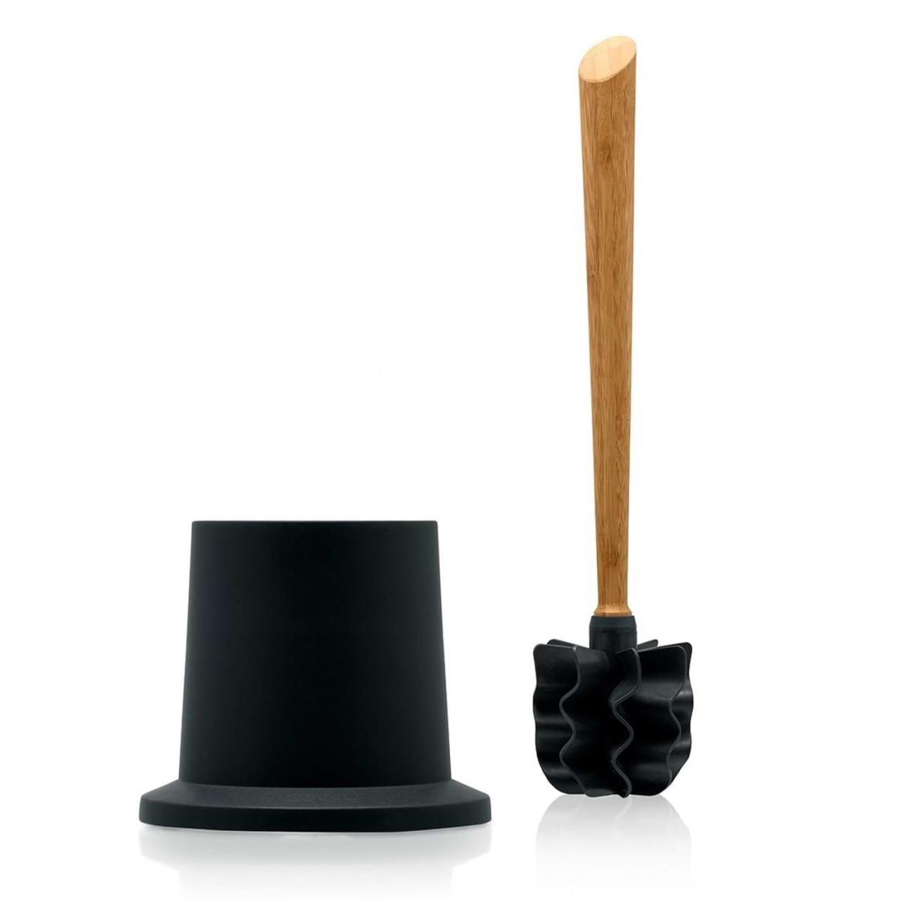 LOOWY Woodline – Eiche Set | Toilettenbürste aus Holz mit Halter Kunststoff