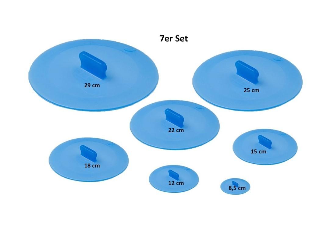 Silikon Deckel Ventosa 7er Set Frischhaltedeckel - Universaldeckel für Tassen, Gläser, Töpfe usw.