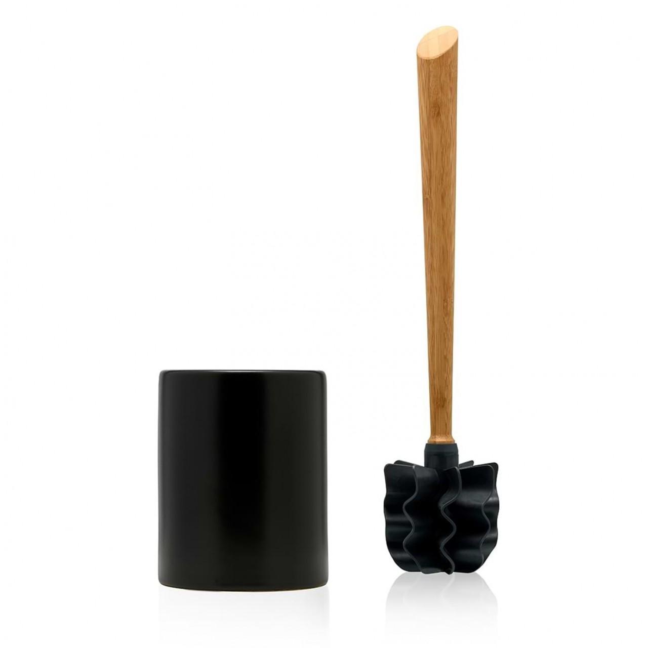 LOOWY Woodline – Bambus Set | die borstenlose Toilettenbürste mit Bambusgriff und Halter schwarz