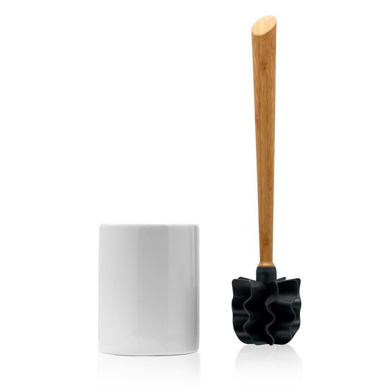 LOOWY Woodline – Bambus Set   die borstenlose Toilettenbürste mit Bambusgriff und Halter weiß