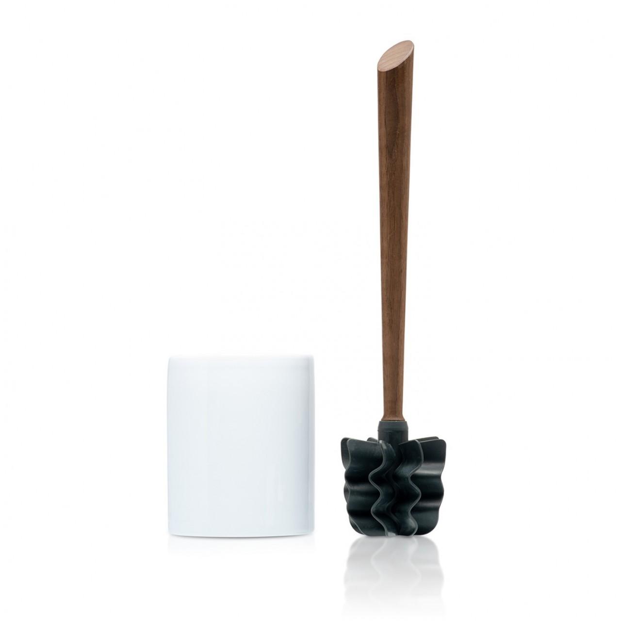 LOOWY Woodline – Nussbaum Set | die Toilettenbürste mit Nussbaumgriff und Keramik Halter weiß
