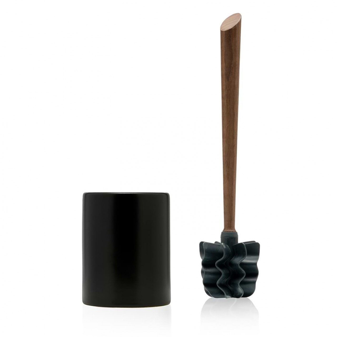 LOOWY Woodline – Nussbaum Set | die Toilettenbürste mit Nussbaumgriff und Keramik Halter schwarz